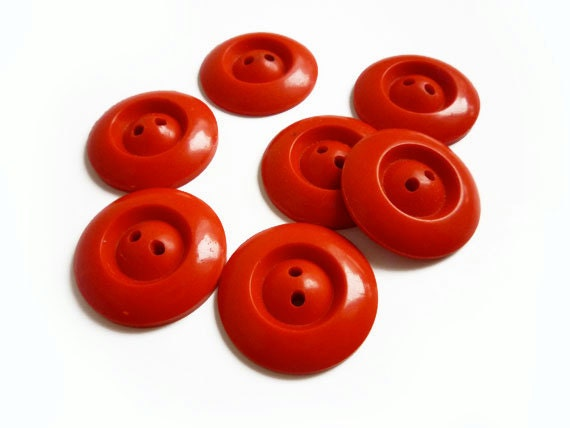 3 Vintage Red Buttons