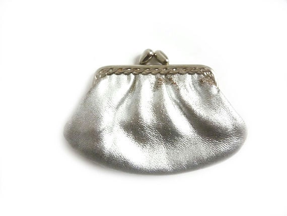 Vintage Silver Leather Frame Purse