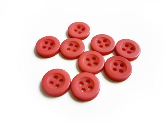 Tiny Coral Buttons, 9 Red Vintage Buttons, Coral Buttons