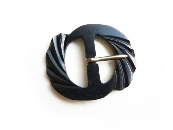 Belt Buckle, Antique Bakelite Black Belt Buckle, Art Deco, 1930