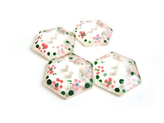 Vintage Buttons, 4 Clear Buttons, Hand Painted, Floral, Flowers, PInk, Green, Hexagonal