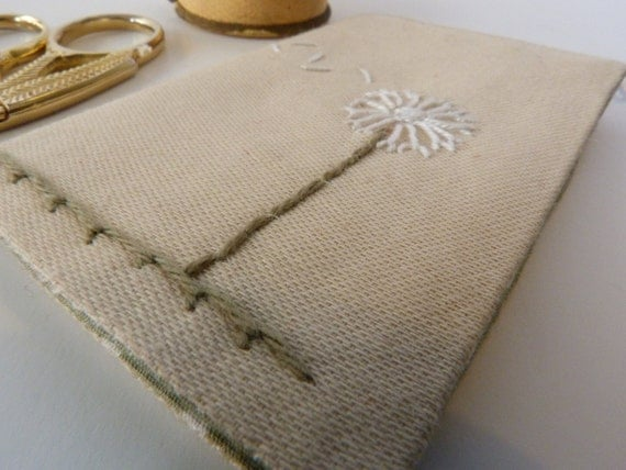 Hand Embroidered Needle Book with Dandelion