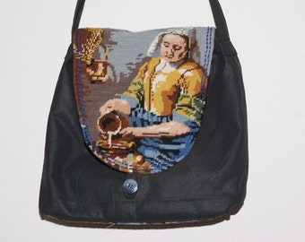 Milkmaid, messenger bag with embroidered flap