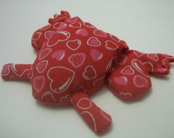 Pain Reliever Hot/ Cold Herbal Therapy Flax Seed filled Froggy Bubble Heart Print