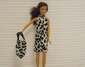 Barbie Clothes Barbie Dress in Black & White Knit with Purse