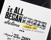 """Funny Wedding invitation card with our story / Printable template / """"How everything began"""" (retro version)"""