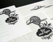 """Hot air balloon Wedding stationary / Engagement invite / Printable DIY file / """" Up in the air"""""""