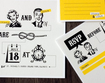 """Funny Wedding invitation set with yellow retro design - """"Tying the knot"""""""