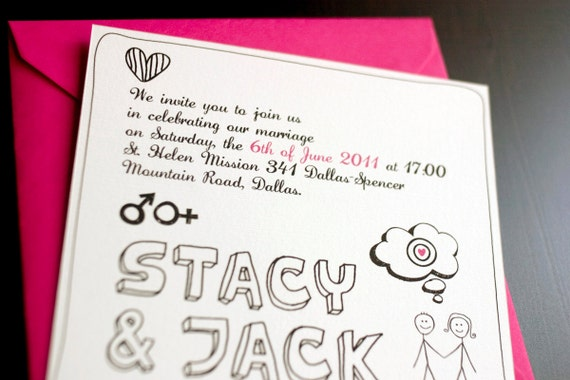 Funny Invitations For Wedding: Funny Printable Wedding Invitation Set / Couple Drawing / DIY