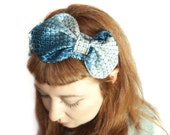 Headband from upcycled blue vintage Tieneck OOAK