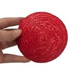 Red Straw fascinator base Round - 11cm - 4.3 inch diameter