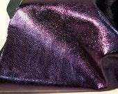 Leather hide dark purple metallic lambskin 5 ft square feet - light weight COD19