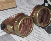Hammered Copper with Brass and Copper mesh - Steampunk Goggles