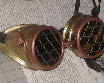 Steampunk Goggles - Brass with Copper, Fisheye Grill