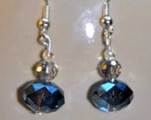 Glittering sky crystal blue grey faceted czech glass silver metal earrings