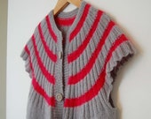 Vintage Hand Knitted Pink and Grey Gilet / Cardigan - Size Medium