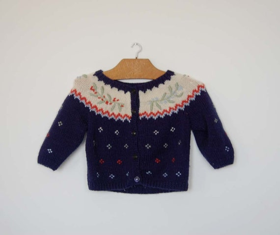 Vintage French Hand Knitted Cardigan - Size 18 Months