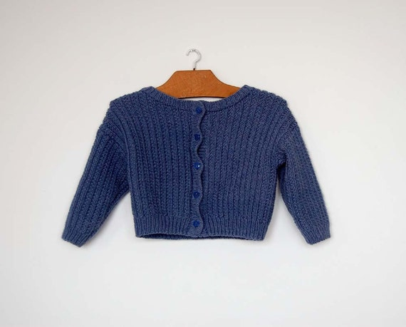 Vintage French Hand Knitted Blue Cardigan - Size 18 - 24 Months
