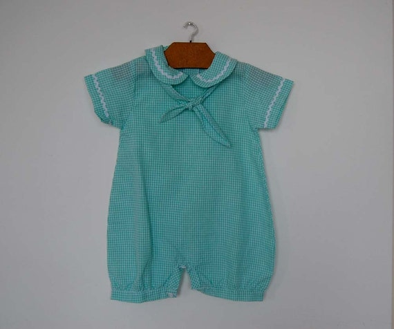 Vintage Green and White Checked Playsuit  - Size 12 months