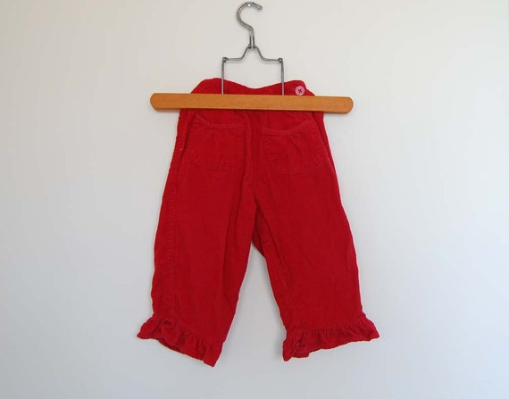 Vintage Toddler Girl Red Trousers - Size 2 T