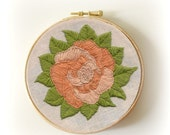 Peach and Orange Embroidered Wall Flower on a 4 Inch hoop As Seen In Apartment Therapy