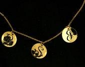 "Gold  14k  initials  BABY 1""apart  14"" total"