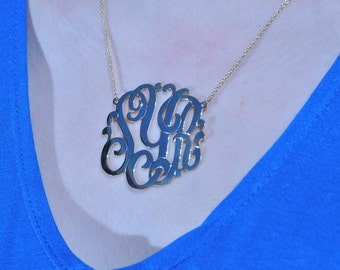 """sterling  silver monogam  necklace   . 1.75"""" size ."""