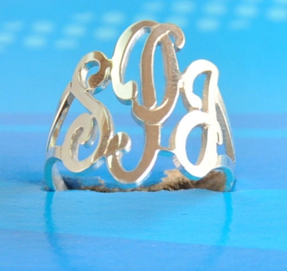 initial monogram ring hand made by US hands ,SSR2 , sterling silver ring.