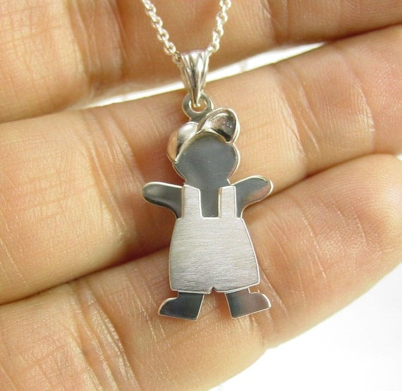 "sterling silver kid charm 1"" tall ,with a chain"