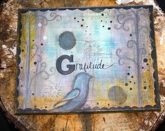 Gratitude 11 x 14 Print of Mixed Media Painting by Sunshine Barlowe