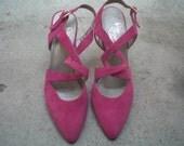 Pink Criss Cross Strap Suede Heels