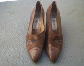 Vintage Brown Leather and Suede Pumps