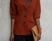 Embroidered Asymmetrical Blazer Jacket