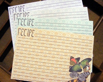 Handmade Vintage Style Old Fashioned Butterfly Recipe Cards from Curious London