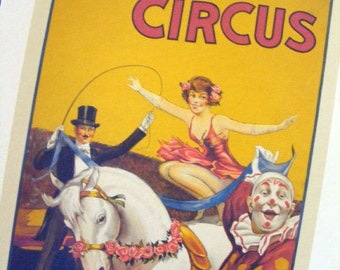 20th Century Gentry Brothers Antique Circus Poster, c. 1930 Reproduction Print from Curious London
