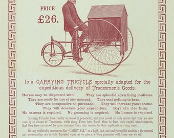 19th Century Carry-All Tricycle Pennyfarthing Antique Reproduction Print from Curious London