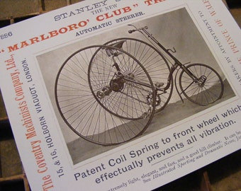 19th Century Antique Tricycle Pennyfarthing Reproduction Print from Curious London