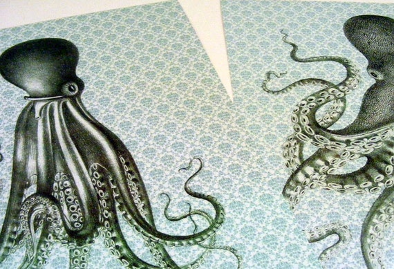 Handmade Vintage Style Old Fashioned Steampunk Octopus Prints from Curious London