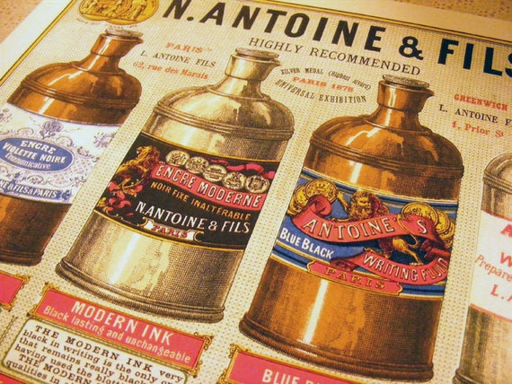 N. Antoine and Fils Ink Company, c. 1879 Reproduction Antique Print from Curious London