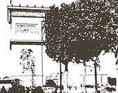 Paris Decor - Paris art, Paris silhouette, Paris illustrated - 8x8, 8x12 Digital Illustration Print - dark brown, light brown, or B&W
