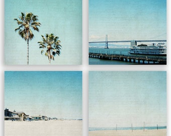 Teal Home Decor, aqua decor, palm trees, beach decor, california beaches, wall decor, summer photography - Set of 4 - Fine Art Photographs