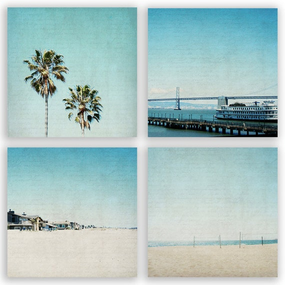 Teal Home Decor, aqua decor, palm trees, beach decor, california beaches, wall decor, summer photography - Set of 4 - Fine Art Photographs