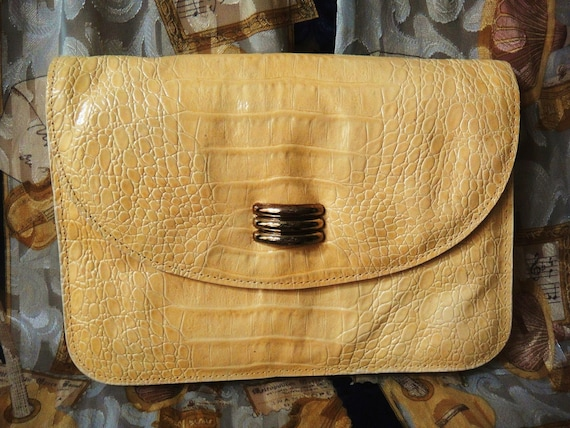RESERVED FOR LOVIE Yellow Leather Purse Embossed Snake Print