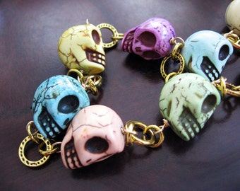 Rainbow Skull Magnesite and Link Chain Necklace