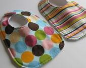 Infant 2 Bib Gift Set - Dots and Strips