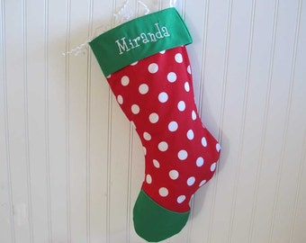 Christmas Stocking with embroidery - Polka Dot with green toe and cuff