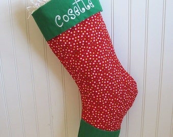 Embroidered Christmas Stocking - Red stocking with multi colored dots and green toe and cuff
