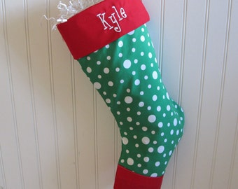 Polka Dotted Personalized Christmas Stocking - Custom stocking with embroidered monogram - Green and white polka dot with red toe and cuff