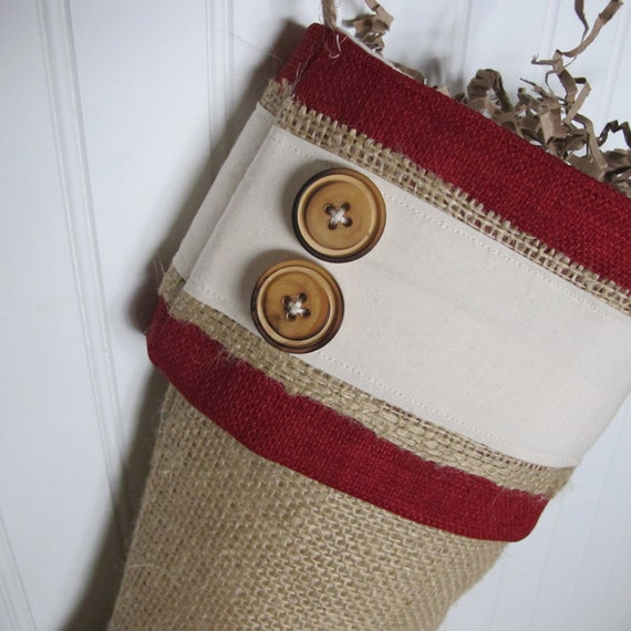Red burlap cuff stocking with wood buttons
