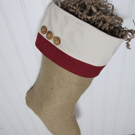Burlap Christmas Stocking with red accents and 3 wood buttons